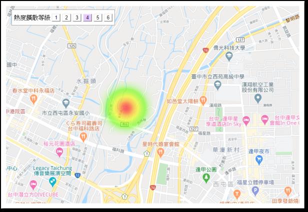 如僅填寫「台中市西屯區」,則在熱度地圖上會呈現全部顧客皆在同一個定點